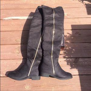 Suede Zip Up Black Over the Knee Boots
